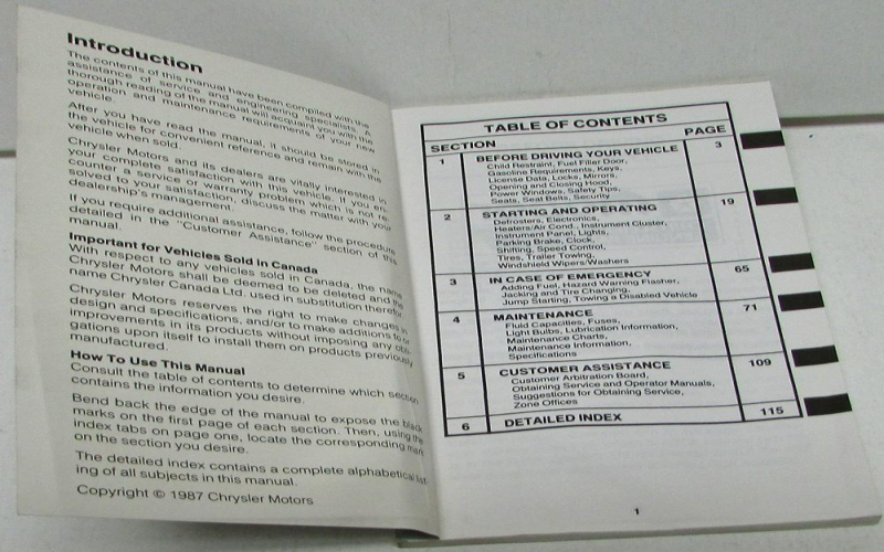 1988 Dodge Dakota Owners Manual
