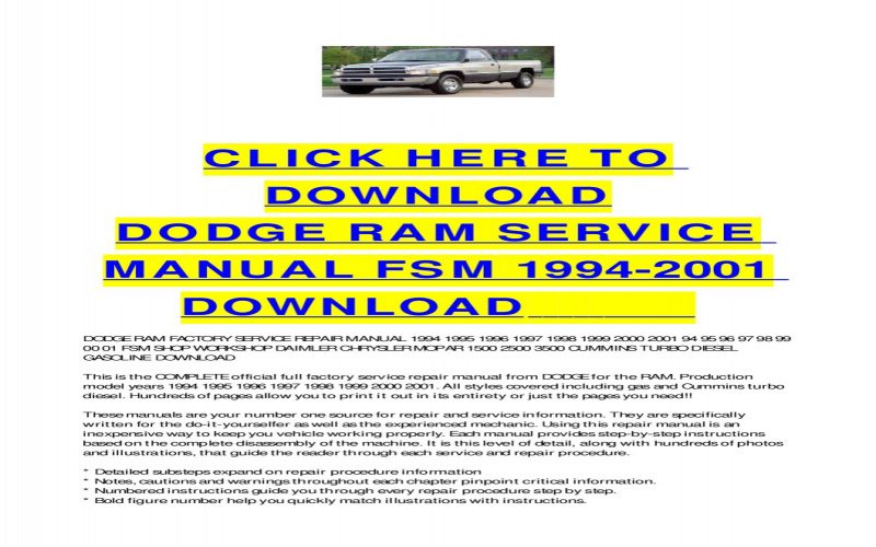 1995 Dodge RAM Owners Manual