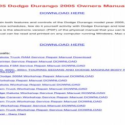 1998 Dodge Durango Owners Manual Download