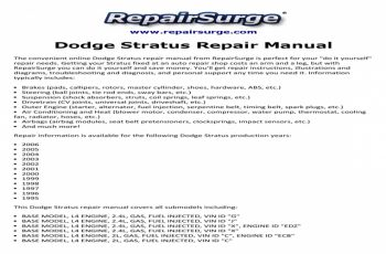 1998 Dodge Stratus Owners Manual