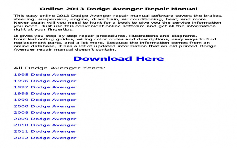 1999 Dodge Avenger Owners Manual