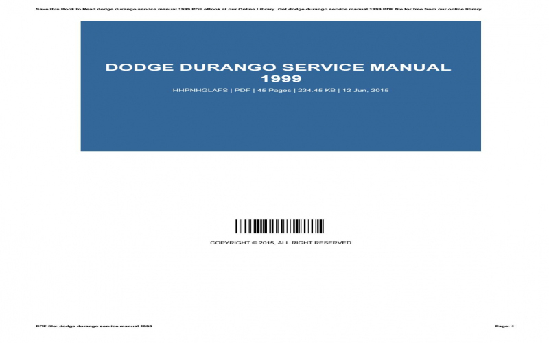 1999 Dodge Durango Owners Manual Online