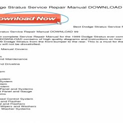 1999 Dodge Stratus Owners Manual PDF