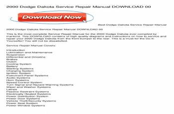 2000 Dodge Dakota Owners Manual Download