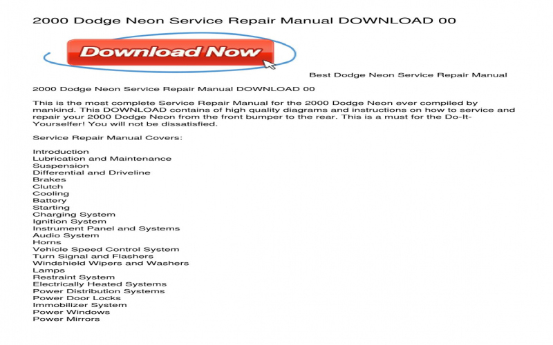 2000 Dodge Neon Owners Manual Download