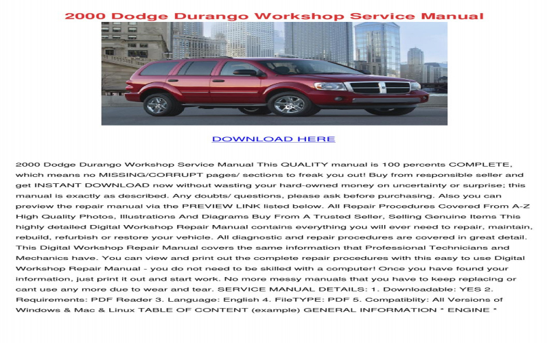 2000 Dodge Viper Owners Manual PDF
