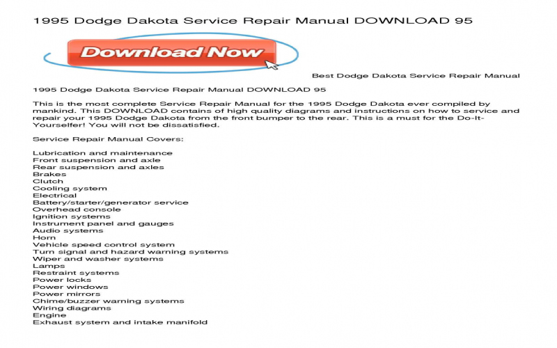 2001 Dodge Dakota Owners Manual Download