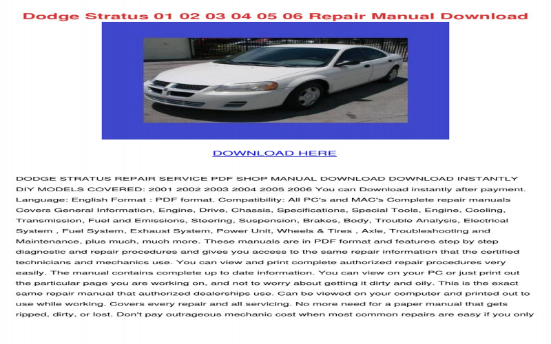 2001 Dodge Stratus Se Owners Manual