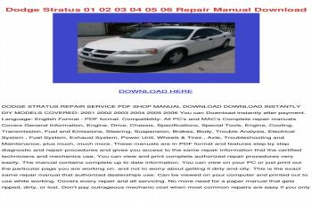 2001 Dodge Stratus Sedan Owners Manual