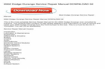 2002 Dodge Durango Owners Manual Download
