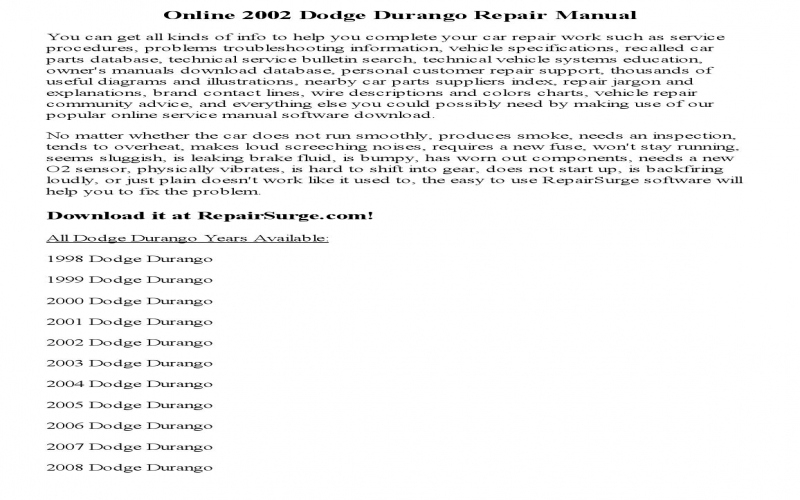 2002 Dodge Durango Owners Manual Online
