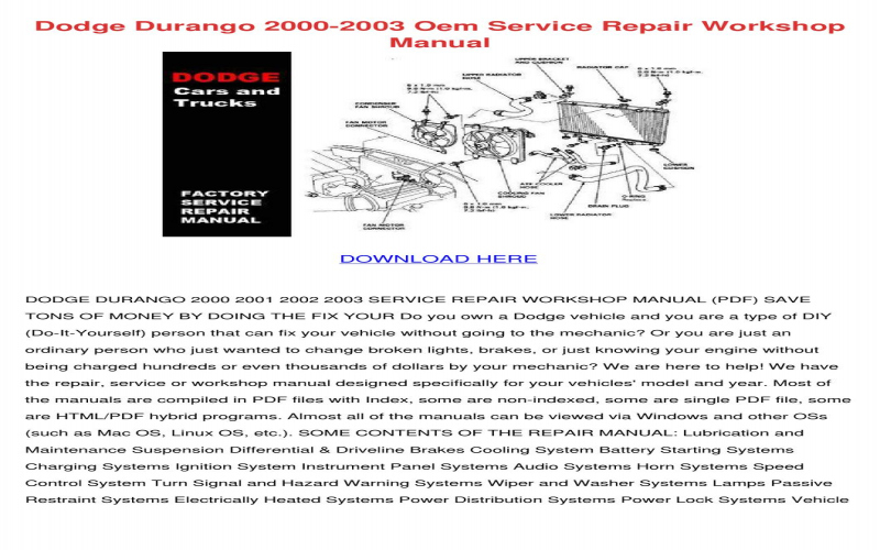 2003 Dodge Durango Service Manual PDF