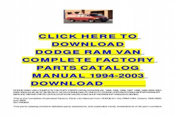 2003 Dodge RAM Van Owners Manual