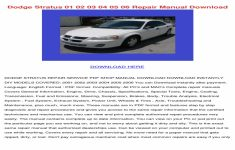 2003 Dodge Stratus Owners Manual PDF