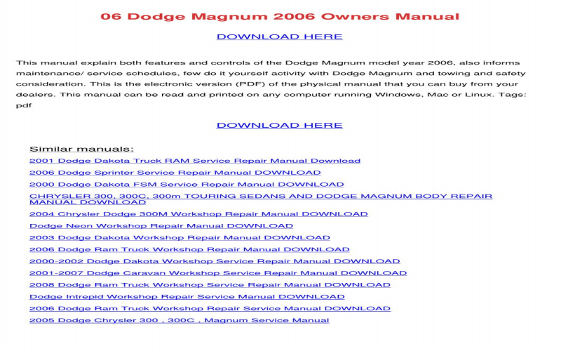 2005 Dodge Magnum Owners Manual PDF