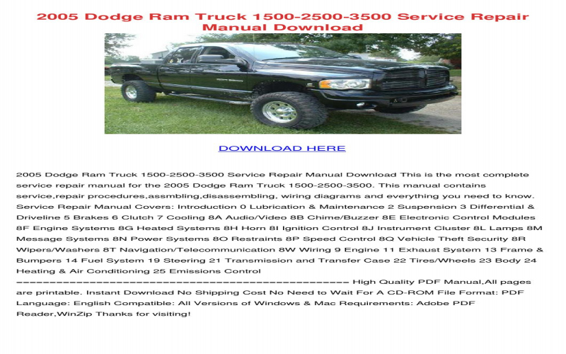 2005 Dodge RAM 3500 Service Manual PDF