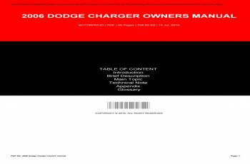 2006 Dodge Charger Owners Manual Free
