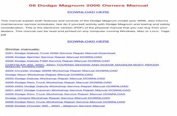2006 Dodge Magnum Owners Manual PDF