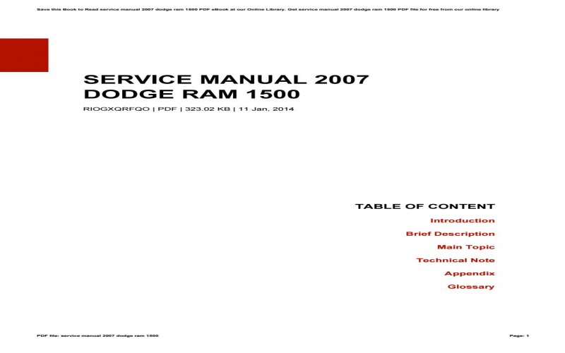 2007 Dodge 1500 Owners Manual
