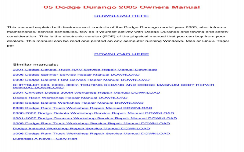 2007 Dodge Durango Service Manual PDF