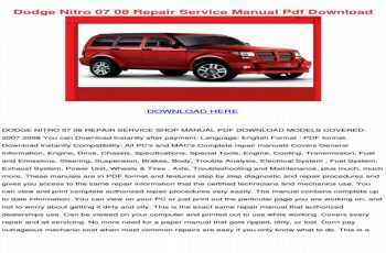 2007 Dodge Nitro Owners Manual Download