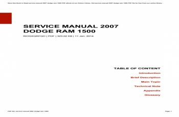 2007 Dodge RAM Service Manual PDF