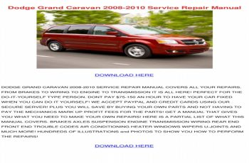 2008 Dodge Grand Caravan Owners Manual Download