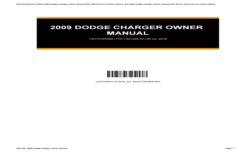 2009 Dodge Charger Owners Manual PDF