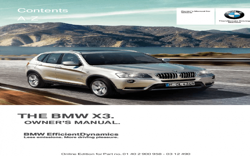 2010 BMW X3 Owners Manual