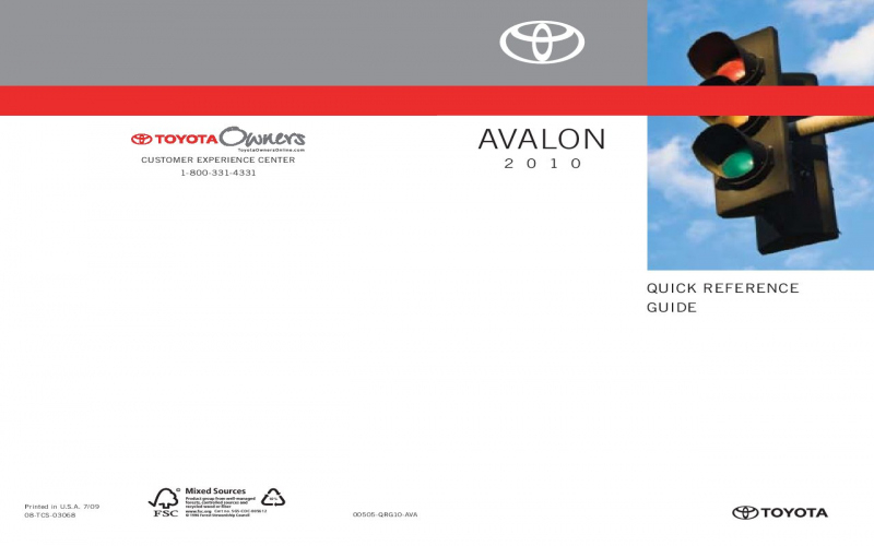 2010 Toyota Avalon Owners Manual