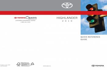 2010 Toyota Highlander Owners Manual