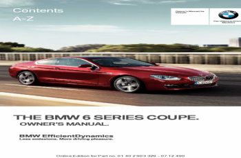 2011 BMW 6 Series Owners Manual