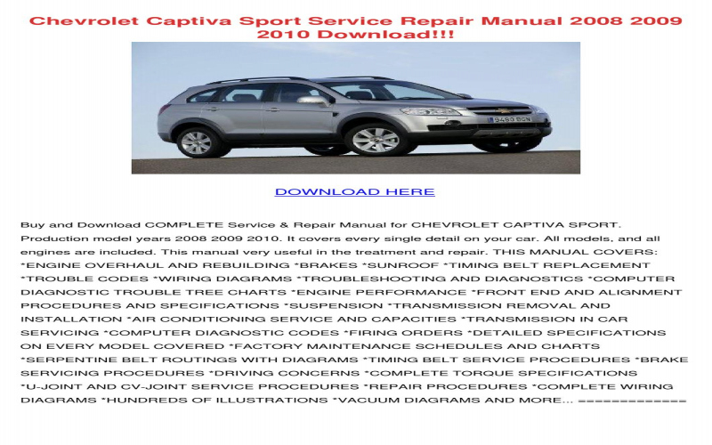 2011 Chevrolet Captiva Owners Manual