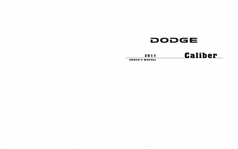 2011 Dodge Caliber Mainstreet Owners Manual