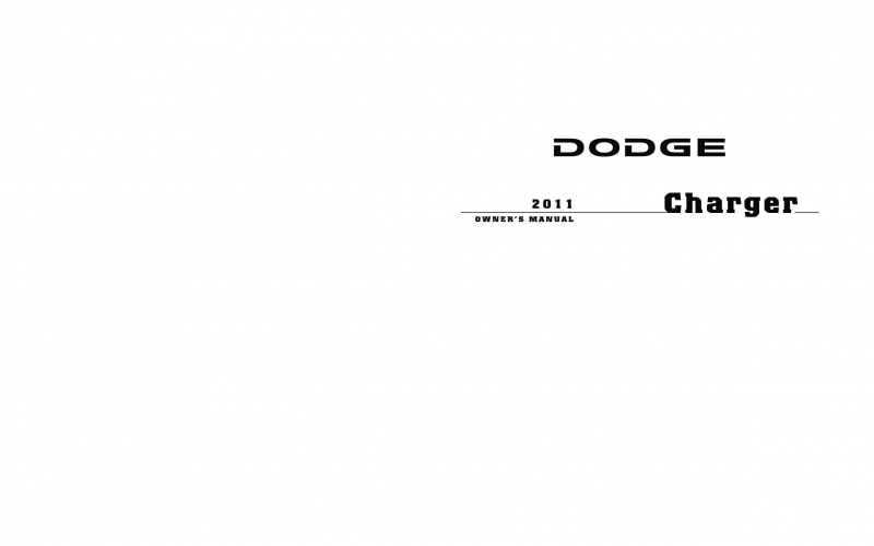2011 Dodge Charger Owners Manual PDF