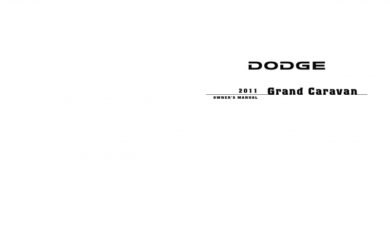 2011 Dodge Grand Caravan SXT Owners Manual