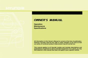 2011 Hyundai Tucson Owners Manual