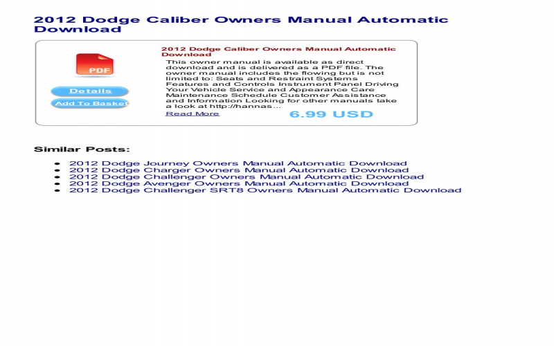 2012 Dodge Caliber Owners Manual