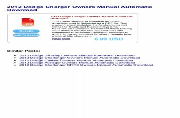 2012 Dodge Challenger Owners Manual PDF
