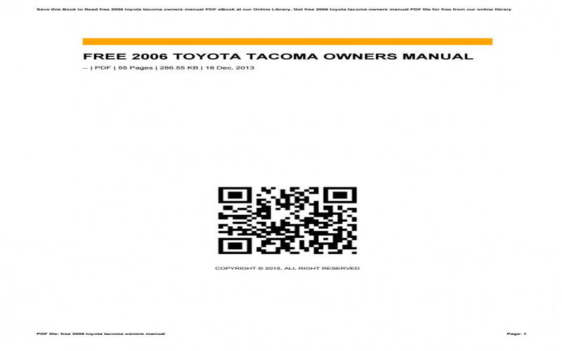 2013 Toyota Tacoma Owners Manual