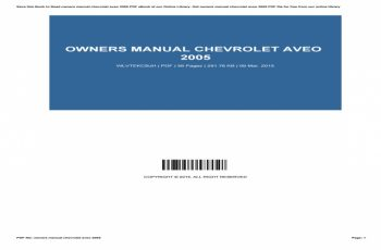 2015 Chevrolet Aveo Owners Manual