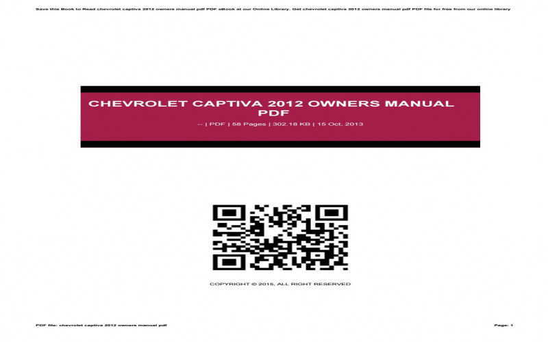 2015 Chevrolet Captiva Owners Manual