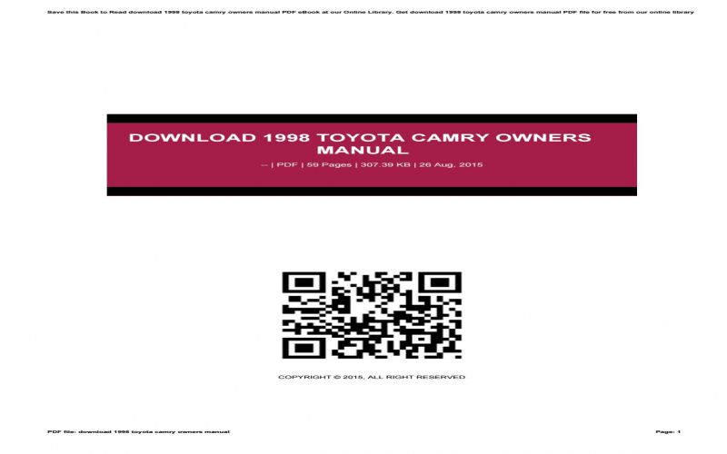 2015 Toyota Camry Owners Manual