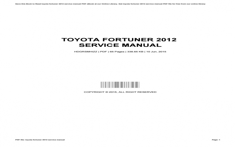 2015 Toyota Fortuner Owners Manual