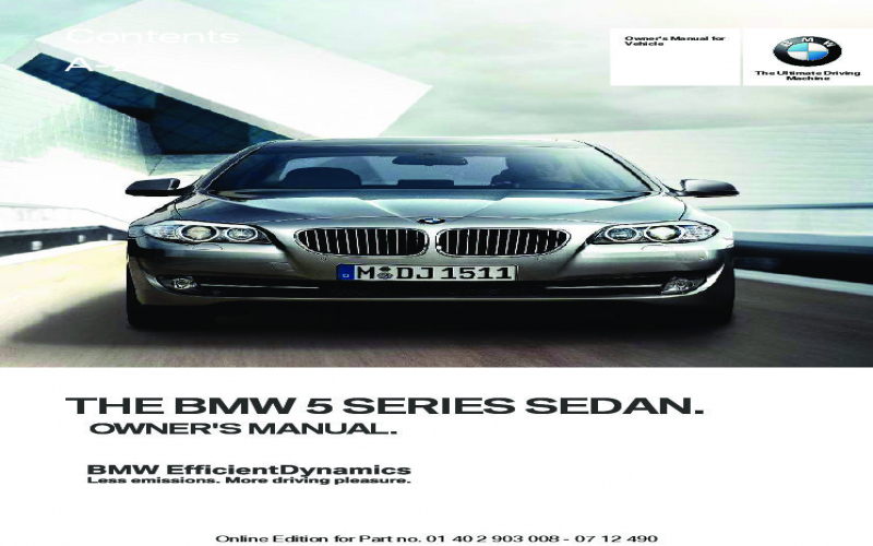 2019 BMW 5 Series Owners Manual