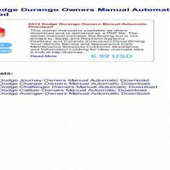 Owners Manual For 2012 Dodge Durango