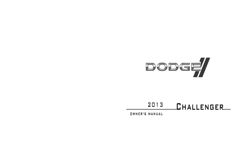 Owners Manual For 2013 Dodge Challenger