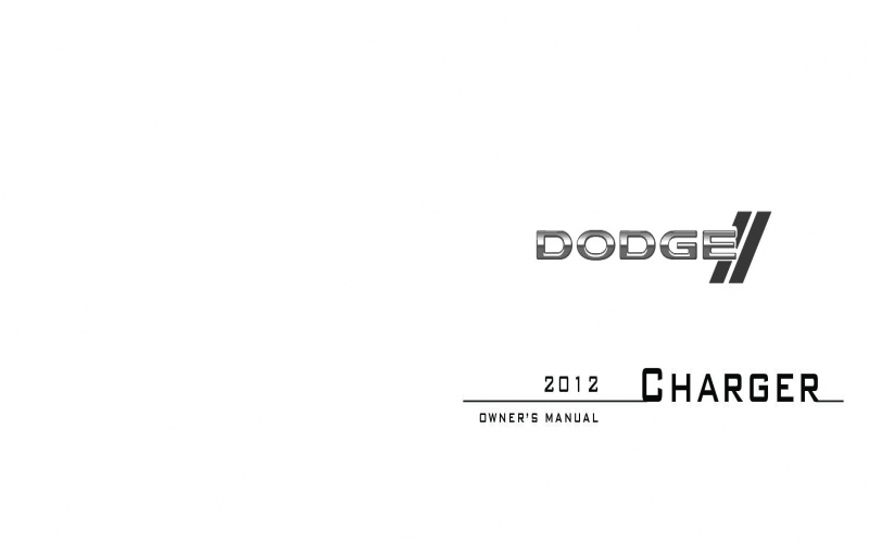 Owners Manual For a 2012 Dodge Charger